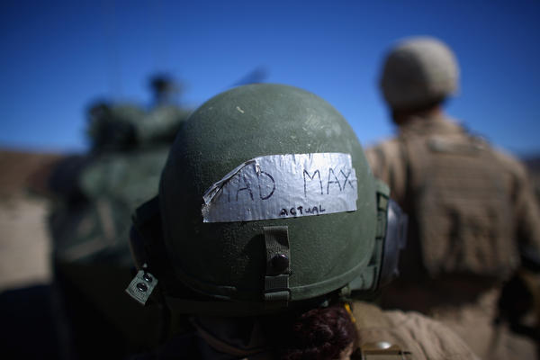 "The back of Marine Lance Cpl. Paula Pineda's helmet reads ""Mad Max."""