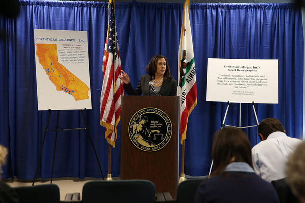 California Attorney General Kamala Harris announced the filing of a lawsuit against the for-profit Corinthian Colleges and its subsidiaries for alleged false advertising and other charges. 15 students who attended Corinthian Colleges are refusing to pay back their loans.  (Justin Sullivan/Getty Images)