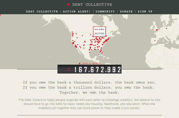 "The Debt Collective helps organize students ""to renegotiate and resist"" their student loan debt. (Screenshot)"