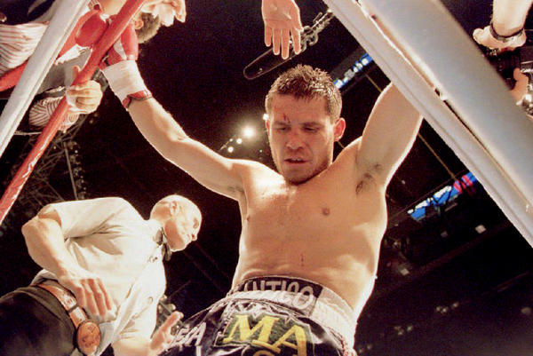 Julio Cesar Chavez of Mexico stands in his corner after receiving a head butt from Frankie Randall in the eighth round of their 1994 WBC Super Lightweight Championship fight. The scheduled 12 round fight was stopped after the incident, and the judges awarded the fight to Chavez.