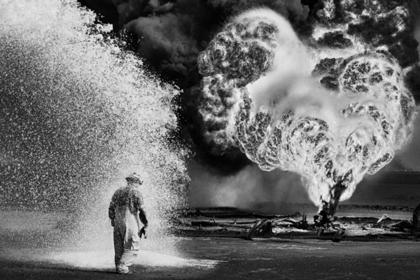 Burning oil wells in Kuwait, 1991.