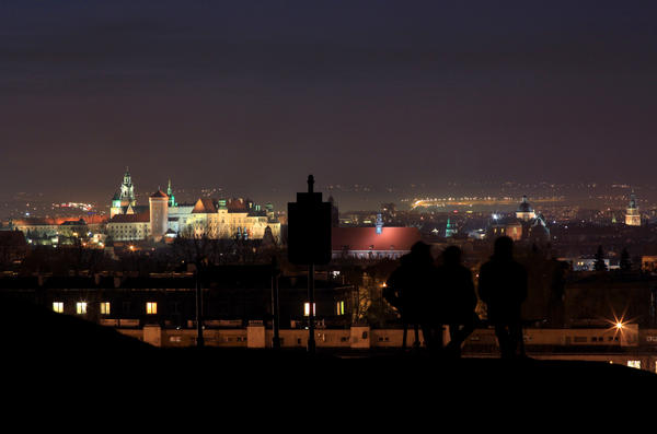 Poland's second-largest city is also a major tourist destination. Krakow (seen here at night from the Krakus Mound) is suffering some of the worst air pollution in Europe.