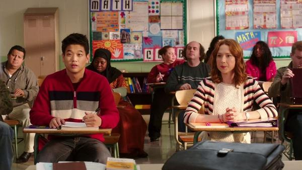 Dong (Ki Hong Lee) and Kimmy (Ellie Kemper), right after they meet.