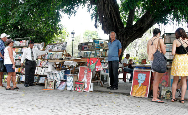 At La Plaza de Armas in Old Havana, tourist shop for books, posters and old albums.