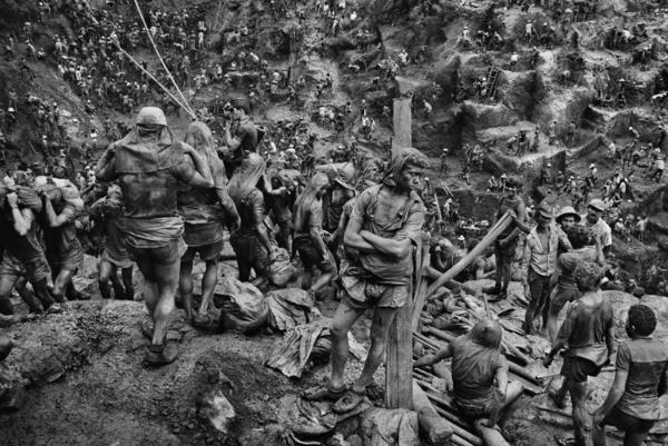 """I could hear the gold whispering in the souls of these men,"" says Brazilian photographer Sebastiao Salgado of a gold mine in Serra Pelada."