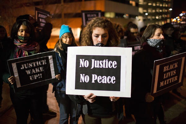 Ferguson activists march through downtown St. Louis during a protest last month.
