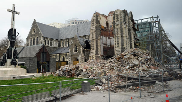 The badly damaged Christchurch Cathedral is pictured on Sept. 7, 2011 during a tour given to foreign journalists visiting the city ahead of the rugby 2011 World Cup. England rugby manager Martin Johnson and several members of the playing squad visited the city to see the stadium and the city center which were damaged by an earthquake in February.