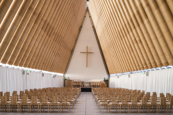 This undated image released by the Pritzker Prize shows a cardboard cathedral in New Zealand designed by Tokyo-born architect Shigeru Ban, 56, the recipient of the 2014 Pritzker Architecture Prize.
