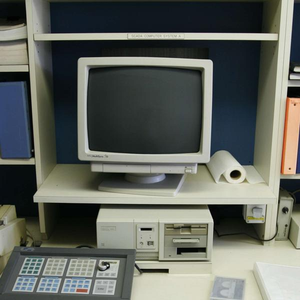 A computer from the 1990s, among the technology that will have to be updated at Santa Barbara's desalination plant, sits in the facility's control room.