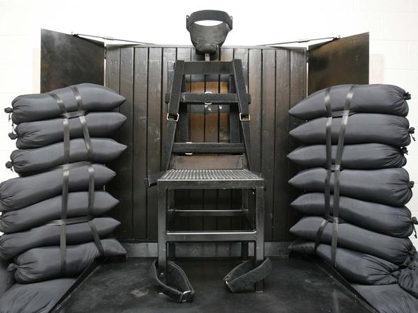 The firing squad execution chamber at the Utah State Prison in Draper, Utah, is shown in June 2010.