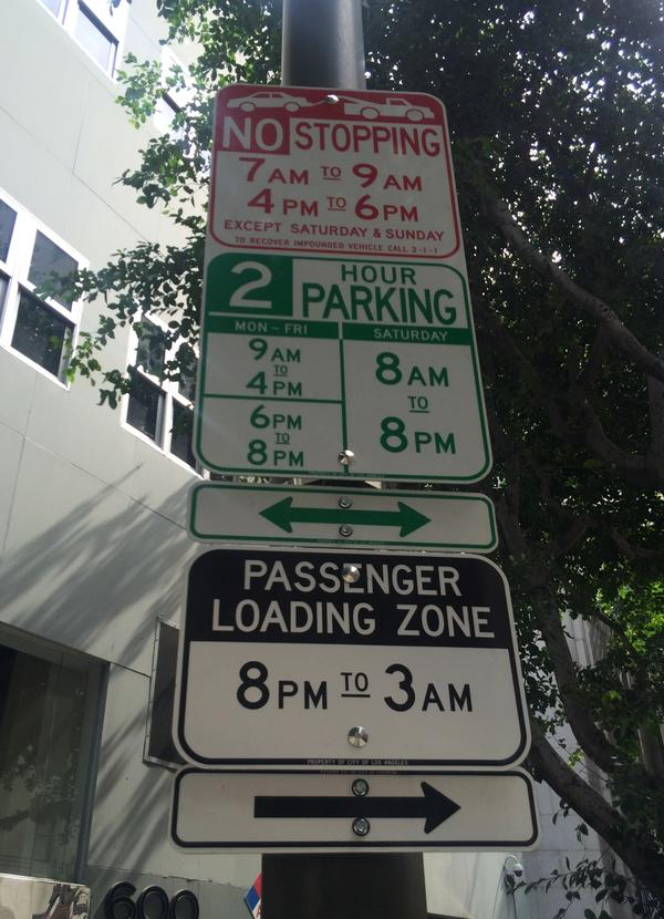 Los Angeles' current parking system assigns a different sign for different restrictions, sometimes leading to towers of signs several feet high.