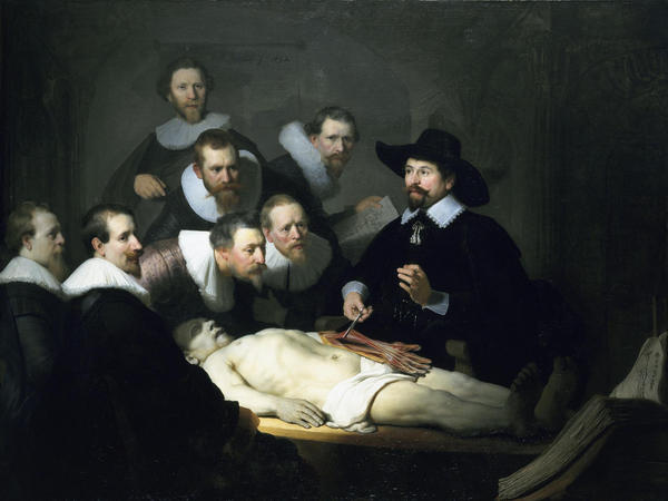 <em>The Anatomy Lesson of Dr. Nicolaes Tulp</em> by Rembrandt, 1632. Here, Tulp explains musculature matters. Elsewhere, the good doctor was promoting the health virtues of tea.
