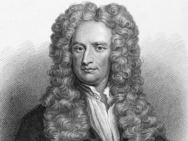 Scientist Isaac Newton on an engraving from the 1800s.