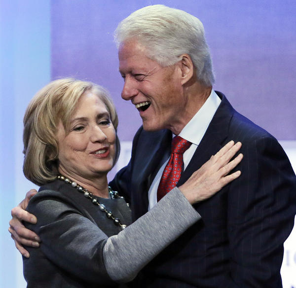 Former Secretary of State Hillary Clinton and husband Bill Clinton at an event for the Clinton Global Initiative.