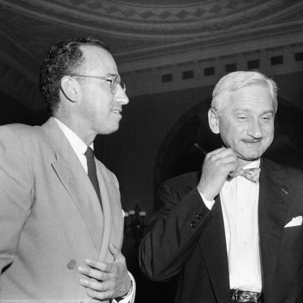 Dr. Albert B. Sabin (right) and Dr. Jonas Salk in Washington in 1955.