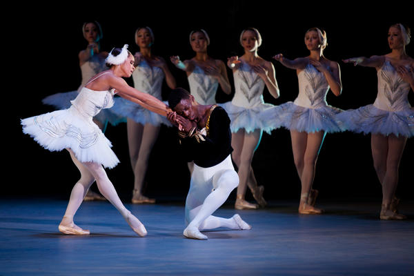 Misty Copeland (left) and Brooklyn Mack play Odette/Odile and Prince Siegfried in this year's Washington Ballet production of <em>Swan Lake</em>. It is the first time that two black dancers star in <em>Swan Lake</em> in a major American production.