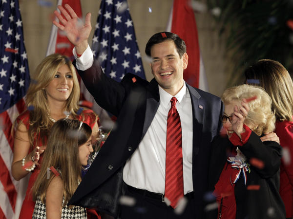 Marco Rubio celebrates onstage with his family in 2010 after winning his U.S. Senate seat in Florida when he was just 39 years old. Now, he's expected to embark on a run for president.