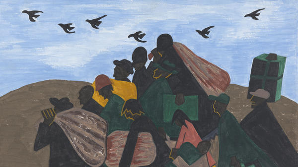 "Each of the 60 paintings in Jacob Lawrence's Great Migration series is accompanied with a caption. For this panel, he wrote in 1941: ""In every town Negroes were leaving by the hundreds to go North and enter into Northern industry."""