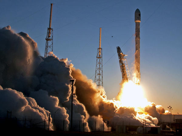 A Falcon 9 SpaceX rocket lifts off from launch complex 40 at the Cape Canaveral Air Force Station in Cape Canaveral, Fla., on Feb. 11. SpaceX will attempt to return a Falcon 9 rocket to a floating ship in the Atlantic Ocean on its next launch.