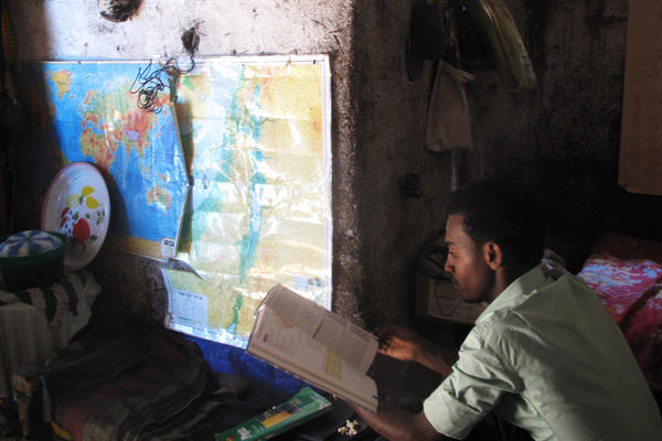 Gezahegn Derebe, 20, left his village to come to Gondar, Ethiopia, the hub for Ethiopia's Jewish community, where he prepared for a new life in Israel. Now, more than a decade later, he remains in Gondar, while other members of his family have managed to emigrate.