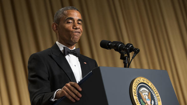 President Obama during his speech at the White House Correspondents' Association dinner in Washington, D.C., Saturday night.