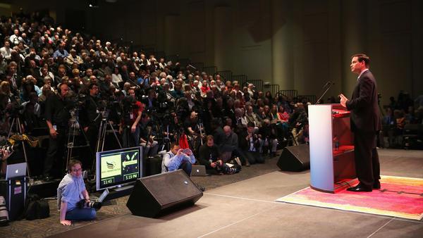 Sen. Marco Rubio spoke at the an Iowa Faith and Freedom Coalition meeting last weekend.