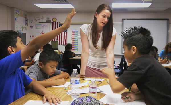 Jessica Adams formerly worked at the Planet Hollywood casino and resort. Now she teaches fourth grade at Robert Forbuss Elementary School.