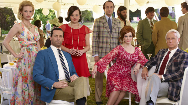 The cast of <em>Mad Men</em>: January Jones (from left), Jon Hamm, Elisabeth Moss, Vincent Kartheiser, Christina Hendricks and John Slattery