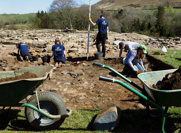 Teams of volunteer archaeologists travel to Vindolanda during each excavation season. They painstakingly scrape and brush away at the soil to see what they can find.