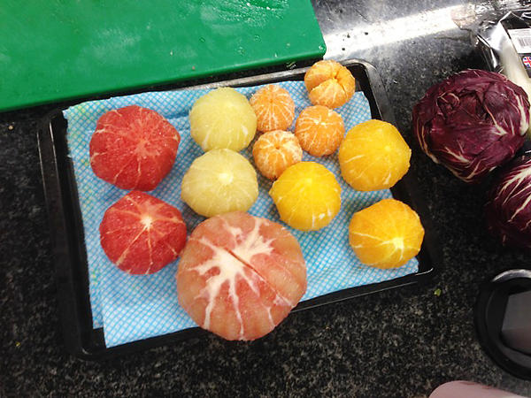 An assortment of fruits that will go into citrus salad recipes at the Ottolenghi test kitchen