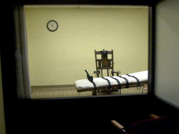 A view of the death chamber from the witness room at the Southern Ohio Correctional Facility.