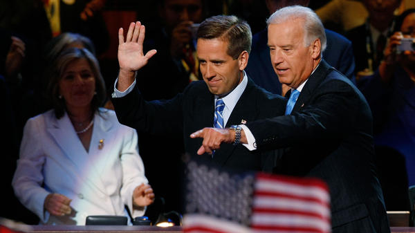 Beau Biden and his father, Joe Biden, at the 2008 Democratic National Convention in Denver.