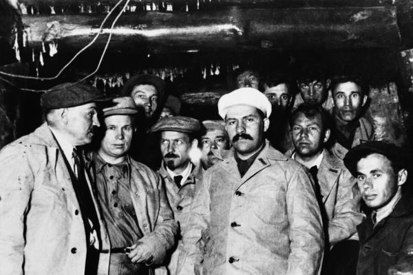 Soviet dictator Josef Stalin put Lazar Kaganovich (in white cap) in charge of the subway construction. Here, he is shown surrounded by workers and a young Nikita Khrushchev (second from the left) as he inspected the new subway and work accomplished in Moscow in March 1934.