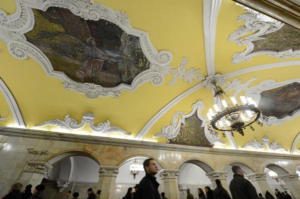 A November 2012 view of the mosaics at the Komsomolskaya station of the Koltsevaya Line of the Moscow subway. The station was opened in 1952.