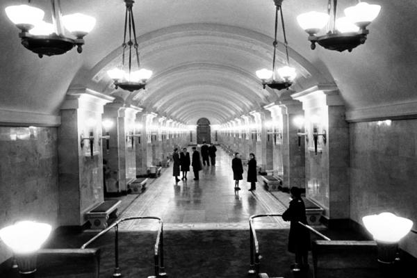 The newly opened Kaluzhskaya station in Moscow, shown here in December 1949.