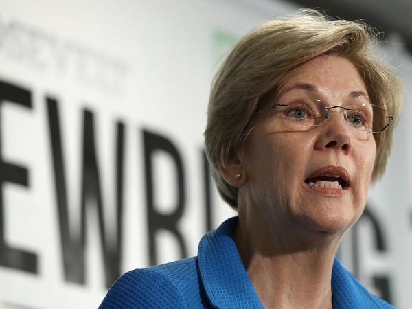 Sen. Elizabeth Warren, D-Mass., speaks at the Roosevelt Institute in Washington on May 12.