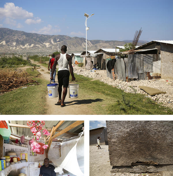 "The American Red Cross says it ""provided homes"" for more than 130,000 Haitians, but acknowledges that much of that is made up of people who went to a training seminar on how to fix their homes, received temporary rental help or lived in shelters like these in Bon Repos, which start to disintegrate after three to five years. Residents say they don't have bathrooms, kitchens or running water."