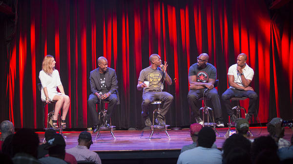 <em>Microphone Check</em> onstage with Organized Noize in Atlanta. From left to right: Frannie Kelley, Ray Murray, Rico Wade, Sleepy Brown and Ali Shaheed Muhammad.