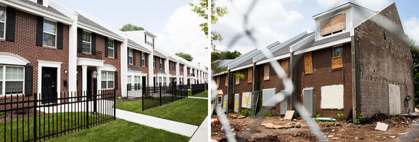 At left are the newly renovated Chadwick Avenue town-home apartments in Newark, where Bertha Martin moved in this year. At right, the second half of the Chadwick Avenue Village apartments stand boarded up and vacant across the street.