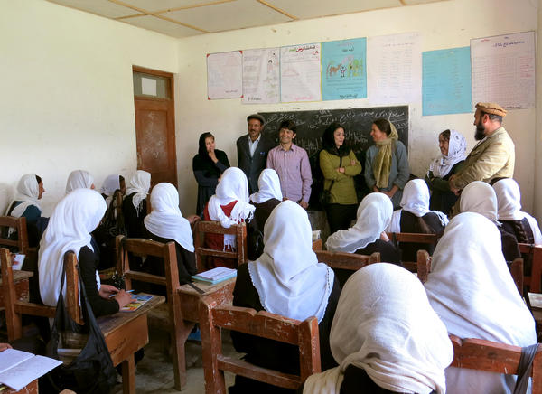 At a school in nearby Ishkashim, the Afghan women give a presentation on their mountain climbing training and scouting expedition to Mount Noshaq.