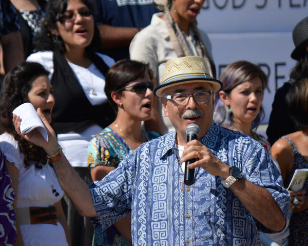 Juan Felipe Herrera speaks at the California Unity Poem Fiesta, a 2014 gathering celebrating his two years (at that point) as the state's poet laureate.