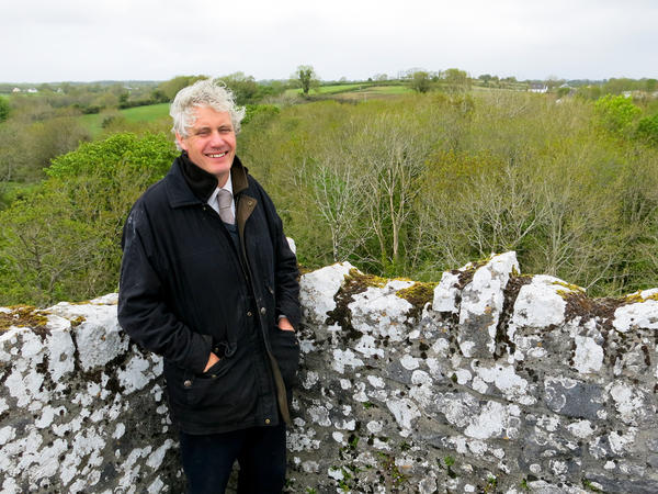 Colm Farrell, whose grandfather knew Yeats, stands atop Thoor Ballylee. Farrell is helping raise money to restore the tower and reopen it to the public.