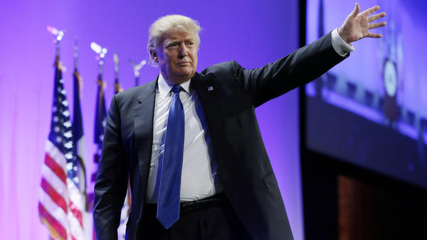 Donald Trump waves as he walks offstage after speaking at the Iowa Republican Party's Lincoln Dinner last month.