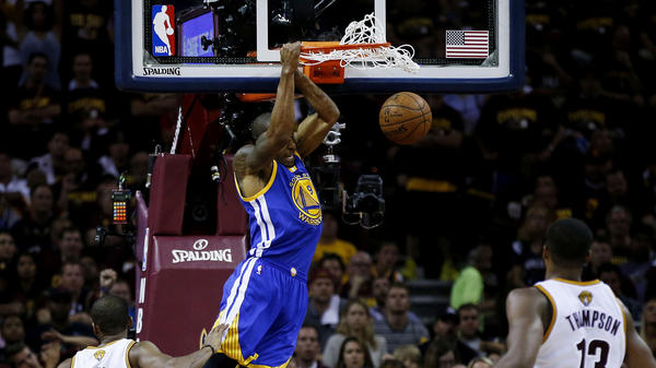 Andre Iguodala dunks Tuesday during Game 6 of the NBA Finals in Cleveland. The Golden State forward was named Most Valuable Player of the NBA finals.