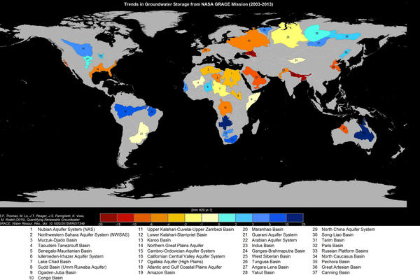Roughly a third of the world's 37 largest aquifers are under stress, according to a new study.