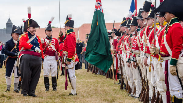 Re-enactors prepare to commemorate the 200th anniversary of Battle of Waterloo in Belgium on Friday. Some 5,000 re-enactors, 300 horses and 100 canons are taking part over two days.