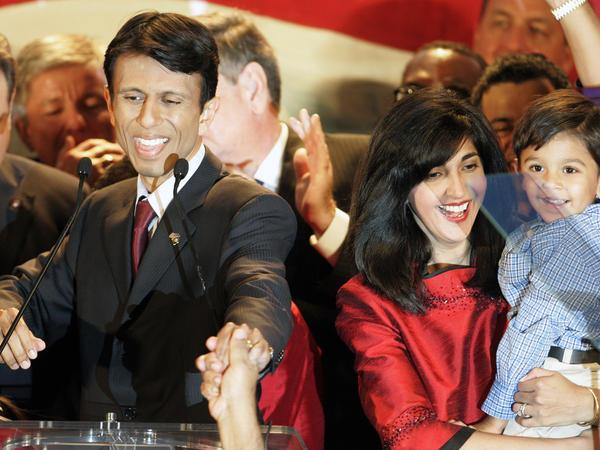 Alongside his wife, Supriya, and son, Shaan Robert, Jindal addresses his gubernatorial victory party in 2007.