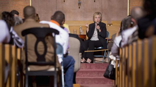 Hillary Clinton spoke Tuesday at Christ the King United Church of Christ in Florissant, Mo.