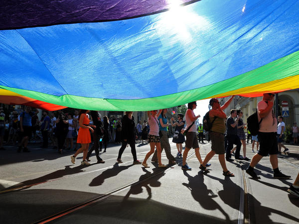 Marchers carried a multicolor flag during Warsaw's annual gay pride parade earlier this month. Poland prohibits gay marriage but activists say attitudes toward gays have improved in recent years.