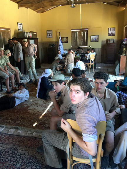 Extras wait for shooting to begin in the Egyptian soap opera, <em>The Jewish Quarter.</em> The TV program features a Muslim-Jewish romance and is being widely watched during Ramadan.